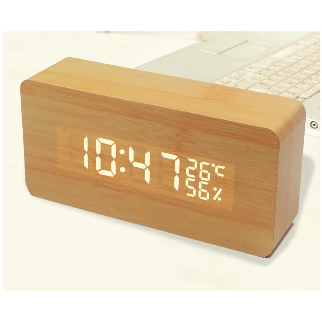 木頭時鐘  USB 聲控鬧鐘 木質鬧鐘 木頭鬧鐘 電子鬧鐘 日期 溫度 濕度 迷你鬧鐘 LED鬧鐘