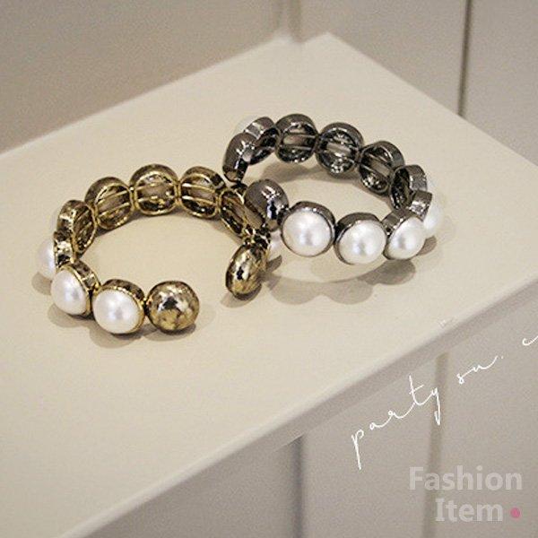 復古珍珠造型開口手環【櫻桃飾品】【20783】
