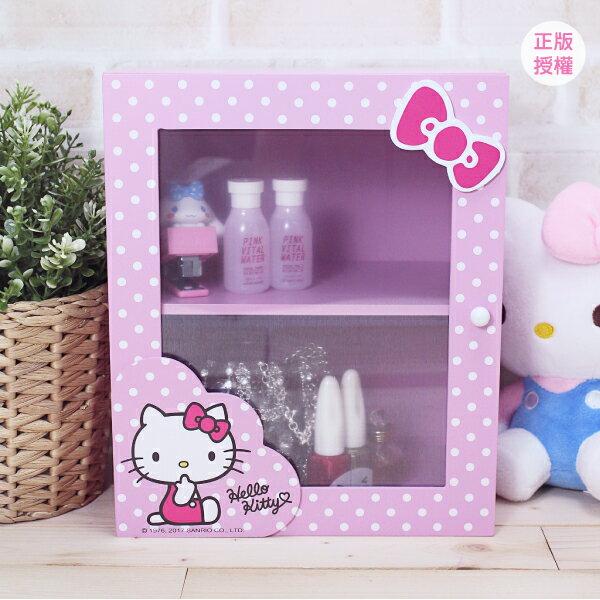 Hello Kitty 圓點風桌上拉門盒-粉 置物櫃 小物收納 文具收納 三麗鷗 蕾寶 生日   情人節 聖誕 化妝盒