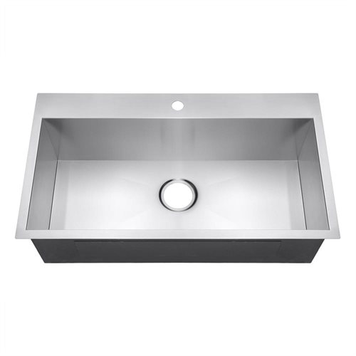 "32"" Handmade Topmount Drop In Single Bowl Basin Stainless Steel Kitchen Sink 1"