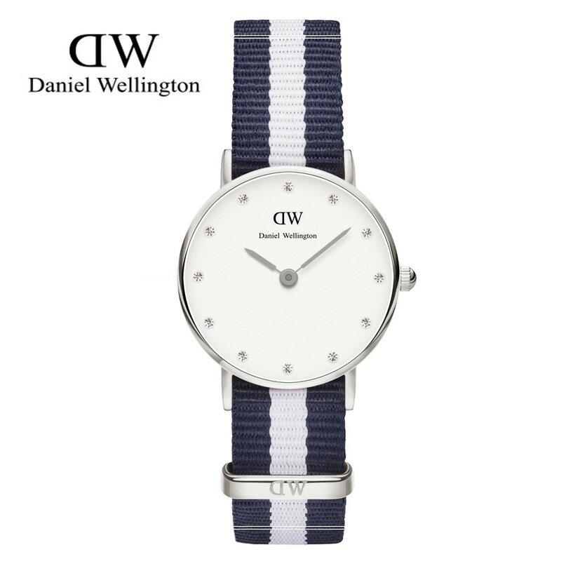 瑞典正品代購 Daniel Wellington 0928DW 銀 玫瑰金 尼龍 帆布錶帶 女錶手錶腕錶 26MM 0