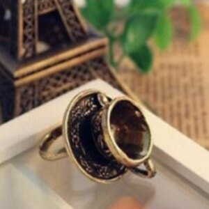 美麗大街【GJZ0297】 歐美外貿復古飾品 玩味樂趣立體 咖啡杯勺子戒指
