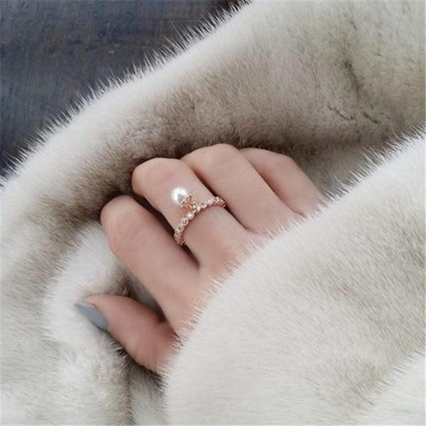 PS Mall  滿鑽排鑽微鑲鋯石戒指女珍珠吊墜指環戒指~G2042~ ~  好康折扣