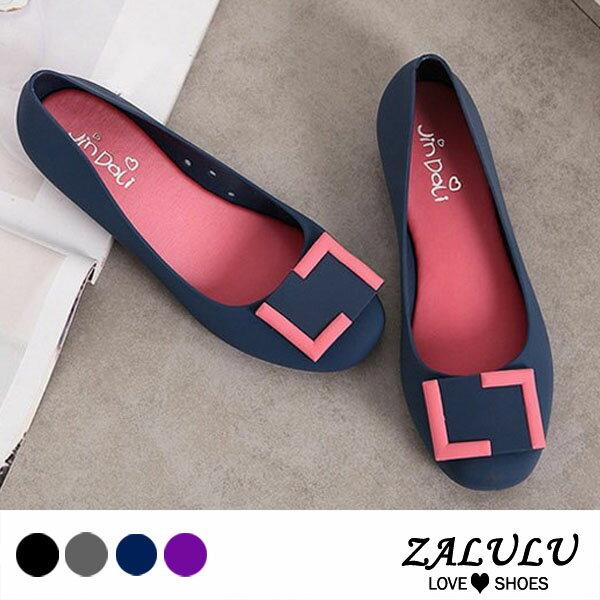 ZALULU愛鞋館 7U316 預購 熱銷款 搭色淑女款平底防水娃娃雨鞋-黑 / 灰 / 藍 / 紫-36-40 0