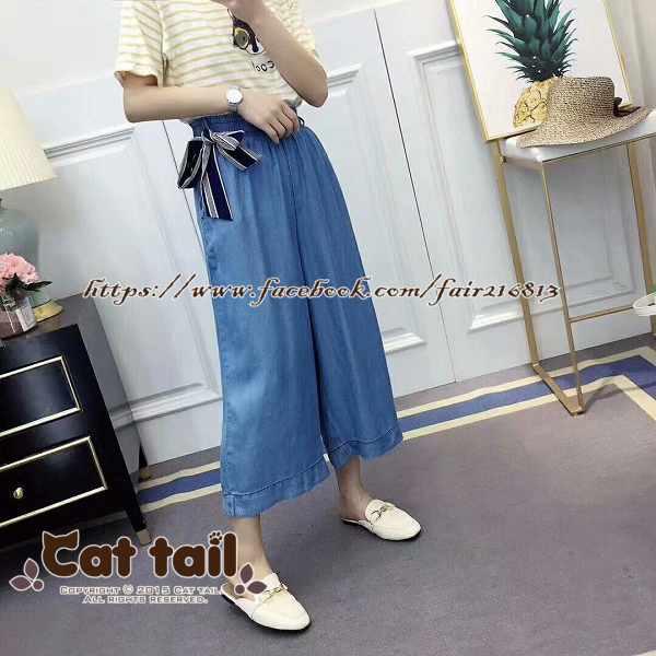 《貓尾巴》TS-0962高腰顯瘦薄款天絲牛仔七分褲(森林系日系棉麻文青清新)
