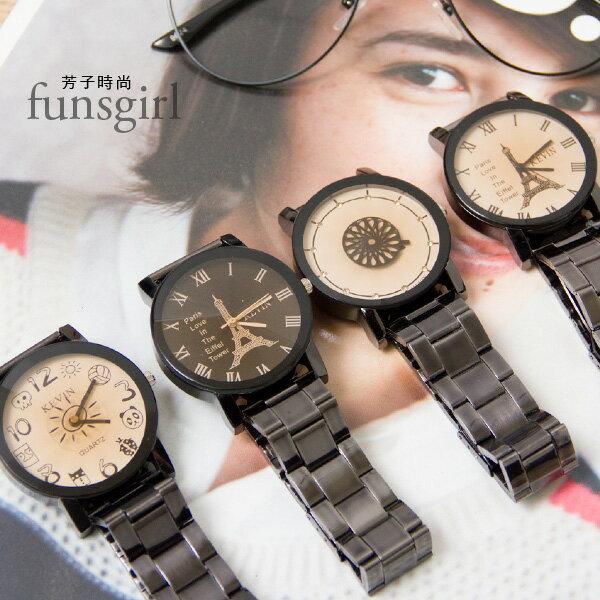 數字羅馬刻度鐵塔萬花筒太陽陶瓷腕錶手錶-4色~funsgirl芳子時尚【B230042】