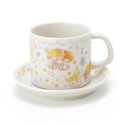 大賀屋 雙子星 陶杯 附盤 陶瓷 餐具 杯子 盤子 咖啡杯 馬克杯 KIKI LALA 正版授權 T00110144