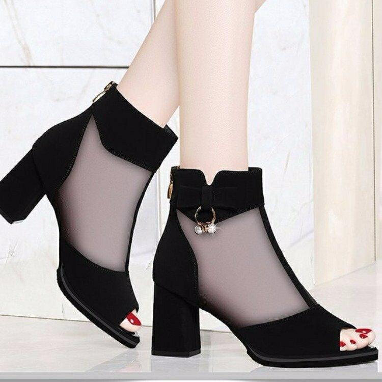 涼靴 網紗魚嘴涼鞋新款包郵春秋夏季透氣女鞋后拉鏈高跟粗跟時髦涼靴女 7號Fashion家居館