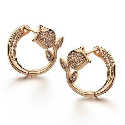 ~玫瑰金耳環925純銀鑲鑽耳飾~優雅鬱金香 情人節生日 女飾品2色73gs137~ ~~米