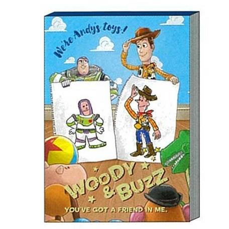 玩具總動員畫圖課迷你便條本-巴斯光年+伍迪 日貨 正版授權L00010247