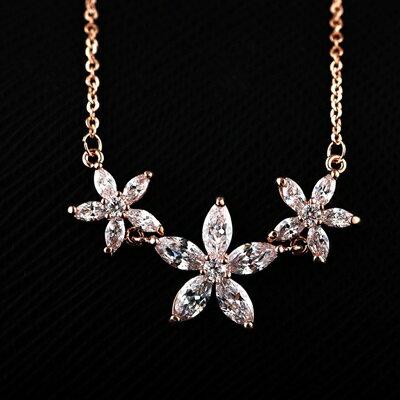 ~純銀項鍊 鍍18K金水晶吊墜~柔美花朵 七夕情人節 女飾品73dn54~ ~~米蘭 ~
