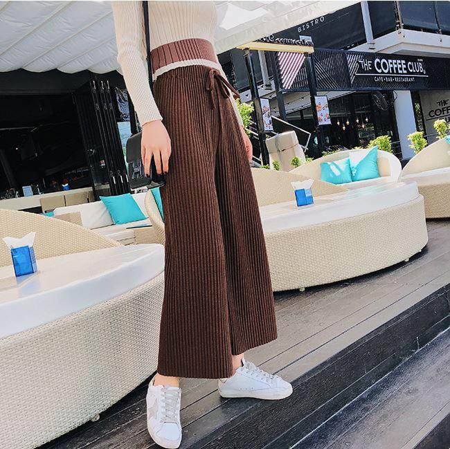 秋冬韓版女裝高腰系帶針織長褲