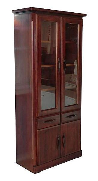 【尚品傢俱】444-06 伊品桃花心木全實木收納櫃展示櫃高櫃酒櫃~