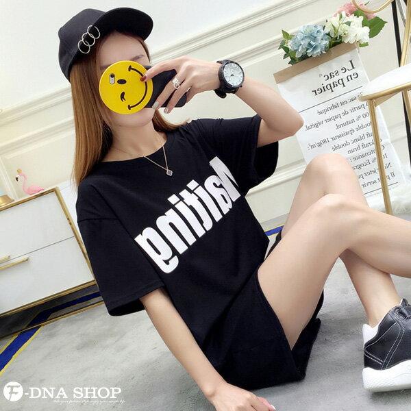 F-DNA★Waiting前後印字長版上衣圓領短袖T恤(3色-M-2XL)【ET12711】 3