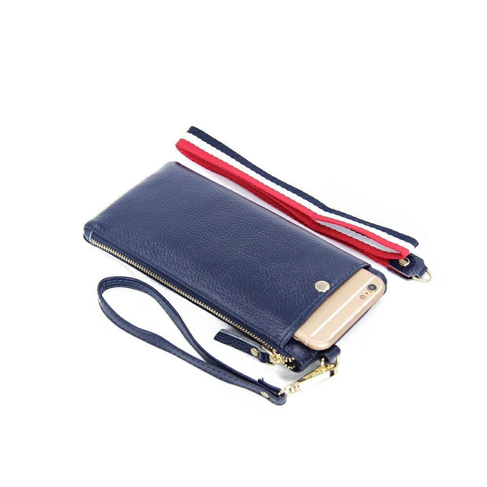 手拿包真皮手機包-簡約薄款純色牛皮女包包5色73wz45【獨家進口】【米蘭精品】 2
