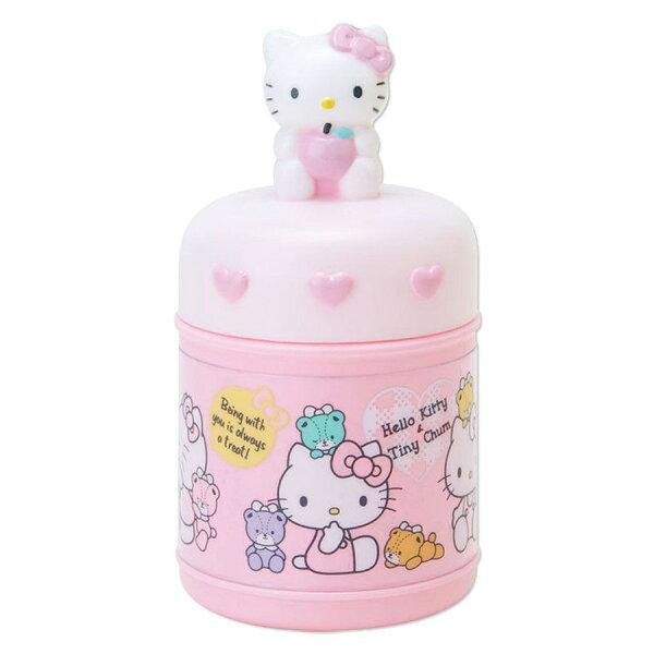 【真愛日本】17111400044收納罐附毛巾-KT坐姿蘋果粉三麗鷗Kitty凱蒂貓收納罐居家用品
