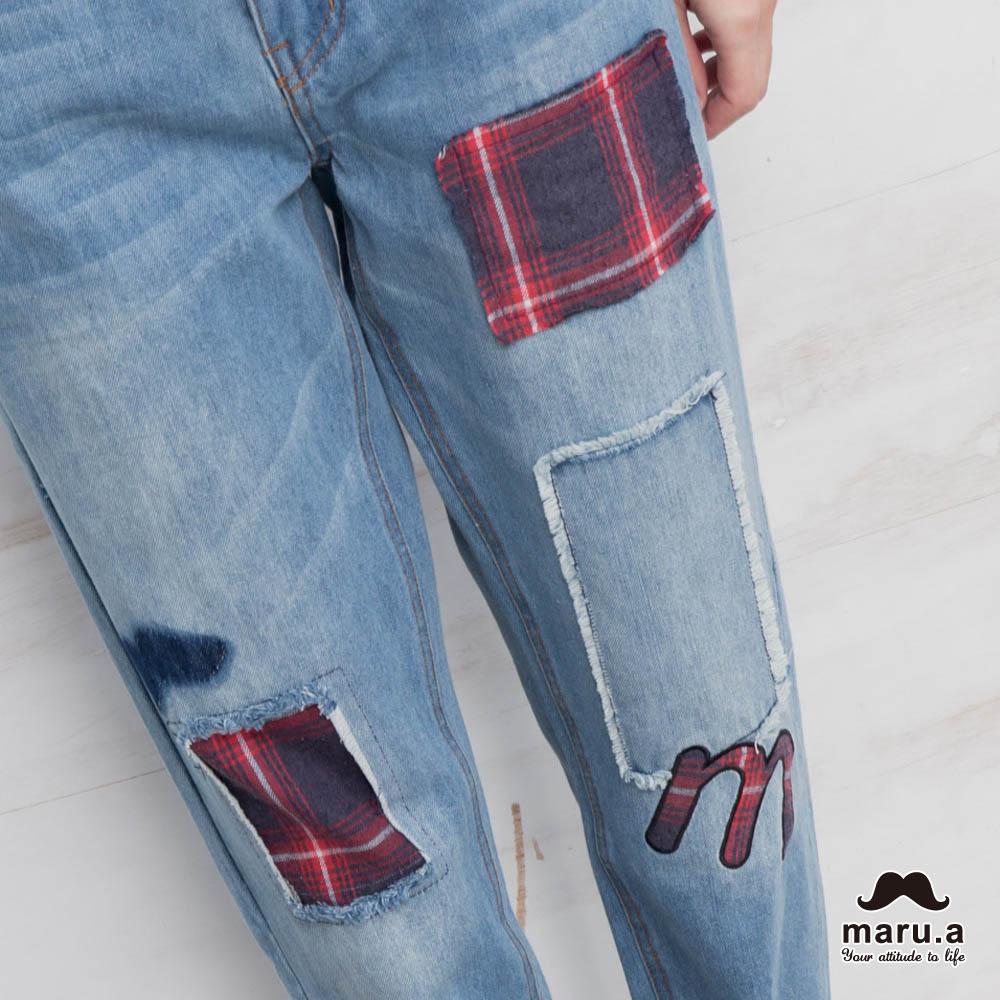 【maru.a】破壞感格紋補丁九分牛仔褲(2色)7915216 2