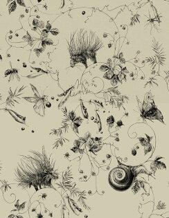 壁紙屋本舖:豪豬紋插畫CatherineGran法國壁紙RM103-03