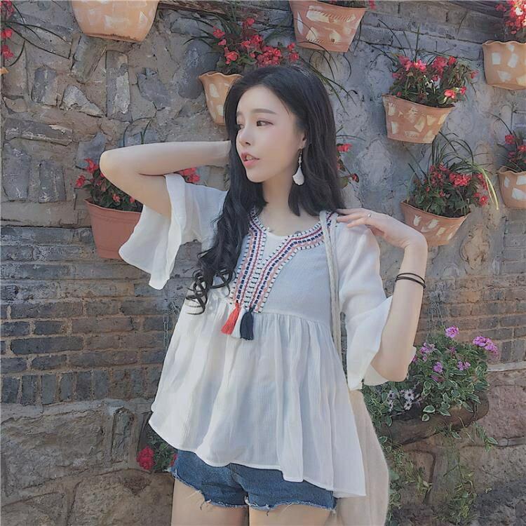 [超豐國際]雪紡衫短袖女百搭復古刺繡民族風學生上衣休閑襯衫1入