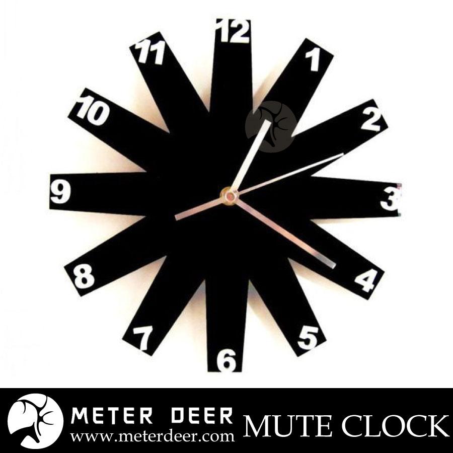 師款時鐘 葉片配立體數字  鏡面壓克力 靜音掛鐘 北歐簡約宜家風格 牆面裝飾時鐘-米鹿家居