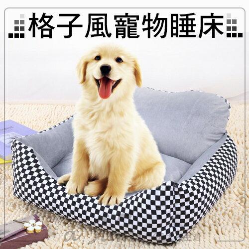ayumi愛犬生活-寵物精品館:《寵物睡床》格子風可拆方型寵物睡床(灰色)狗床貓床寵物睡窩