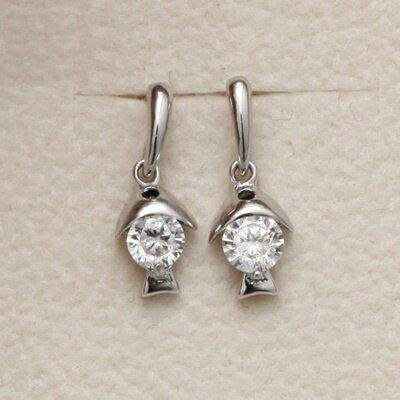 ~925純銀耳環鑲鑽耳飾~精緻可愛小魚 母親節生日情人節 女飾品73dm133~ ~~米蘭