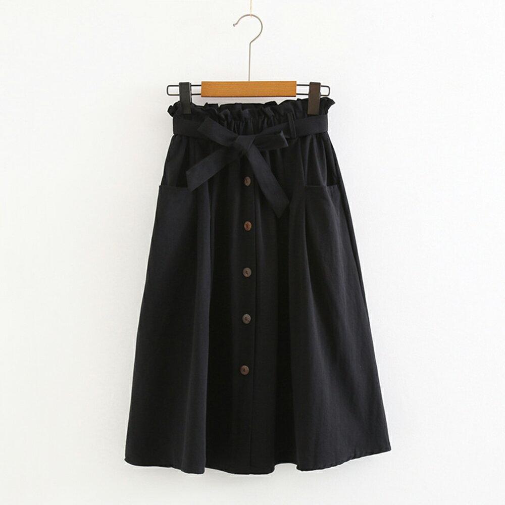 小清新大口袋高腰棉麻繫帶半身裙(4色F碼)【OREAD】 4