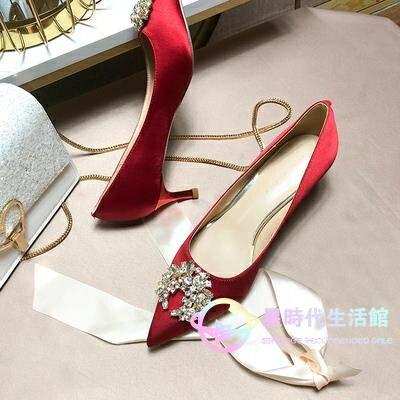 婚鞋 新娘鞋女2020年新款中式結子水鉆尖頭秀禾紅色高跟鞋細跟 X