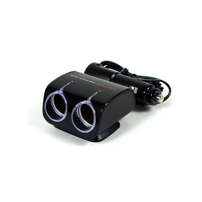 權世界@汽車用品 Autoban WINE USB+2孔點煙器擴充插座 延長線360度旋座式 LED藍光 AW-Z02