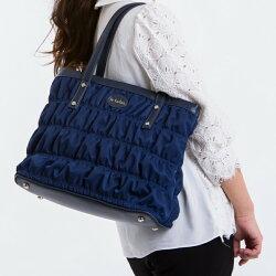 【le Lufon】托特包 藍色尼龍夾綿繡紋拼接皮革大容量實用肩背包(L) 側肩背包/手提包 (黑 / 藍二色)