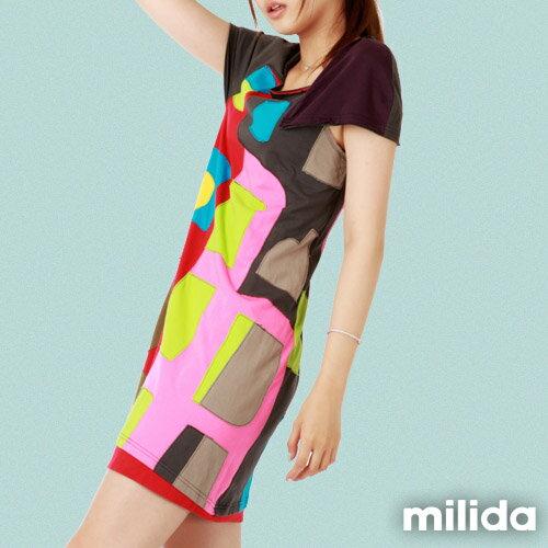 【Milida,全店七折免運】不對稱袖子設計洋裝 3