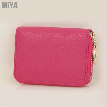 MiYA Bunny 正韓國真皮牛皮女用卡片零錢包 粉玫紅藍青黑色