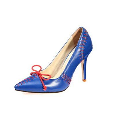 ★尖頭高跟鞋真皮細跟單鞋 -獨特棒球鞋面設計女鞋子2色73iw41【獨家進口】【米蘭精品】