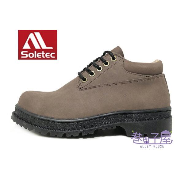 【巷子屋】Soletec超鐵安全鞋-男款牛巴戈中筒安全鞋牛巴戈加厚軟墊[172535]咖啡MIT台灣製造超值價$1280