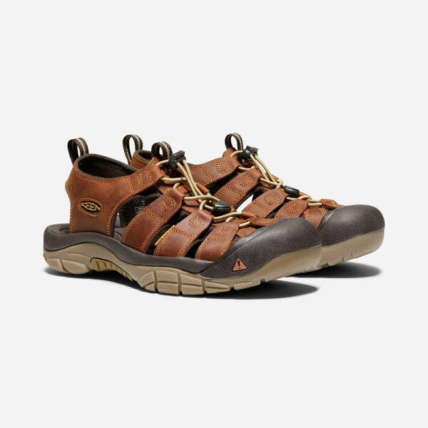 ├登山樂┤美國KEENNEWPORTATV男日系皮面款護趾涼鞋-咖啡色#1018788