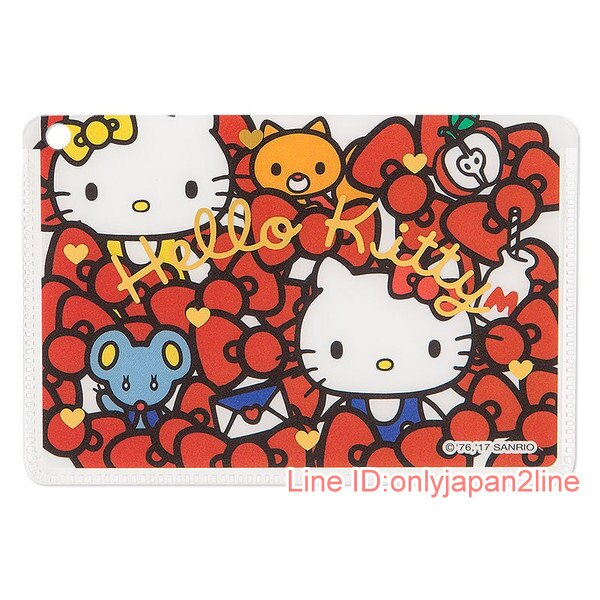 【真愛日本】17030900012 日製卡片套-KT多結紅AAF 三麗鷗 Hello Kitty 凱蒂貓 卡片套
