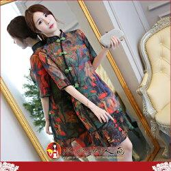【水水女人國】~你的夏日~優雅中國風~女兒的畫。復古原創雪紡印花時尚改良式修身顯瘦中袖俏麗魚尾裙旗袍洋裝