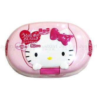 HELLO KITTY 濕紙巾盒 濕紙巾 無香精酒精 80張 嬰幼兒 居家 正版日本製造進口 JustGirl