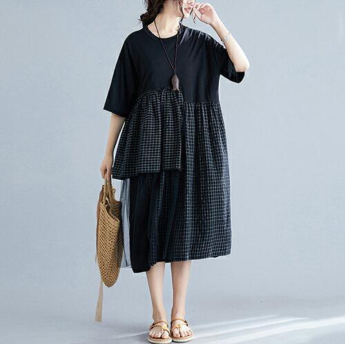 拼接格子下擺網紗中長款連身裙(2色L~XL)【OREAD】 1