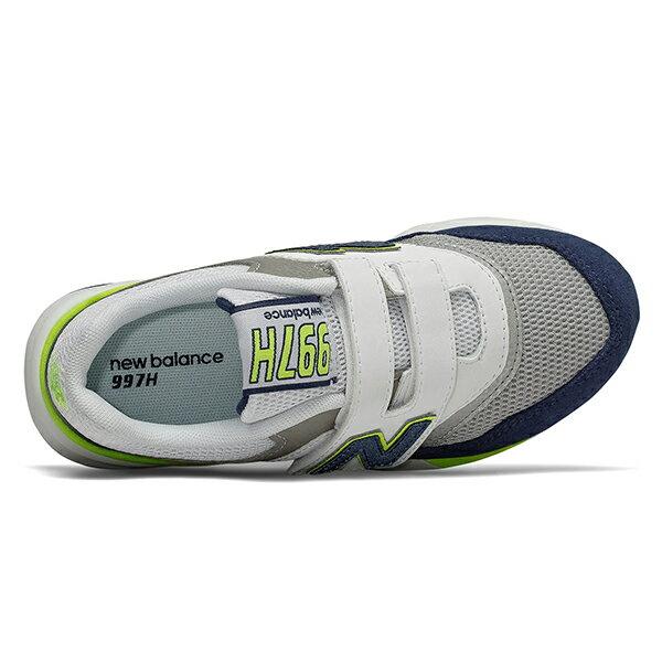 Shoestw【PZ997HCJ】NEW BALANCE NB997 中童鞋 運動鞋 黏帶 免綁帶 Wide 網布 白深灰螢黃 2