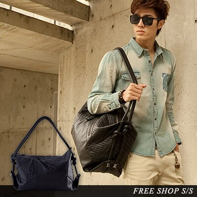 Free Shop~QI1981~韓國街頭款細緻黑皮革綁結菱格紋車縫三用托特包手拿包肩背包