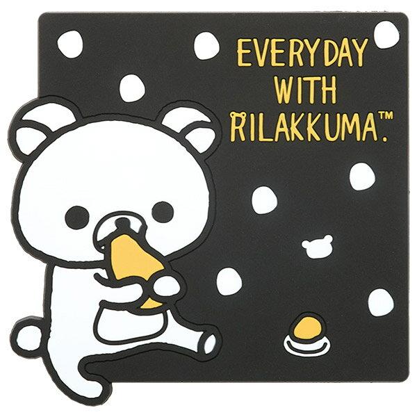 【真愛日本】16092200008 方形杯墊-懶熊黑白點點  SAN-X 懶熊 奶熊 拉拉熊 杯墊 止滑墊 墊子