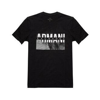 美國百分百【Armani Exchange】T恤 AX 短袖 logo 短T 上衣 T-shirt 設計 黑色 XS號 H843