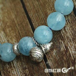 海藍寶手串手鏈 10mm海藍寶圓珠單圈手串手鏈 配銀葫蘆