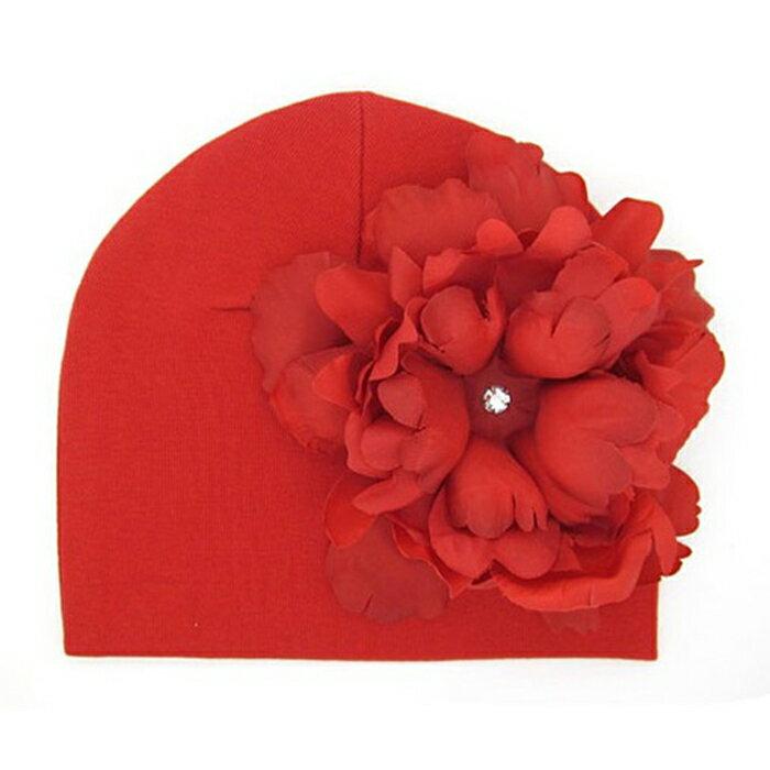 【HELLA 媽咪寶貝】美國Jamie Rae 100%純棉帽 紅色棉帽+經典正紅大牡丹 (JRCHP12)