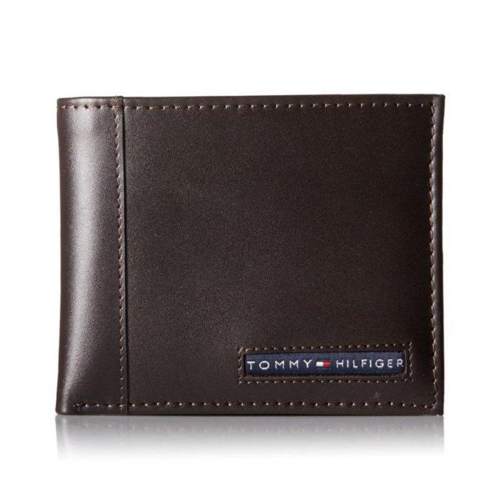 美國百分百【全新真品】Tommy Hilfiger 真皮 皮夾 皮包 卡片 TH 短夾 錢包 卡夾票夾 咖啡色 H716