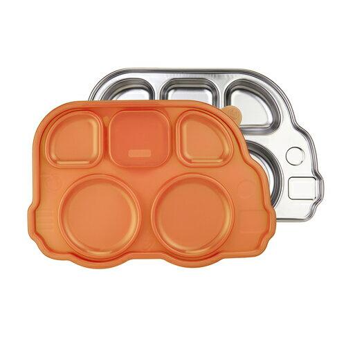 美國 Innobaby 不鏽鋼巴士造型餐盤 橘色 附餐盤蓋 *夏日微風*