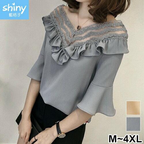 【V2364】shiny藍格子-成熟甜美.V領拼接網紗中長袖上衣