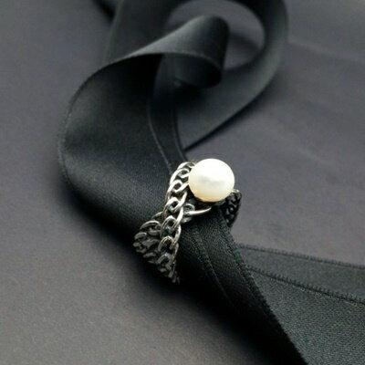 ~925純銀戒指珍珠銀飾~日韓古典優雅鏈條生日情人節 女飾品73ic52~ ~~米蘭 ~