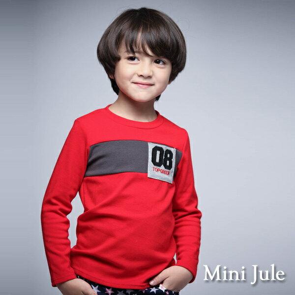 Azio Kids美國派:《MiniJule童裝》上衣數字8單口袋拼接長袖T恤(紅)